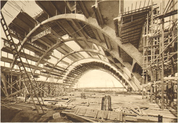 Expo Bruxelles 1935 - Architecture - Construction des grands palais