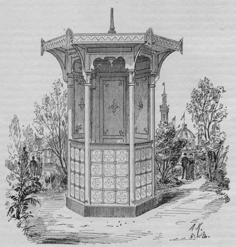 Expo Paris 1889 - Kiosque hexagonal en carton