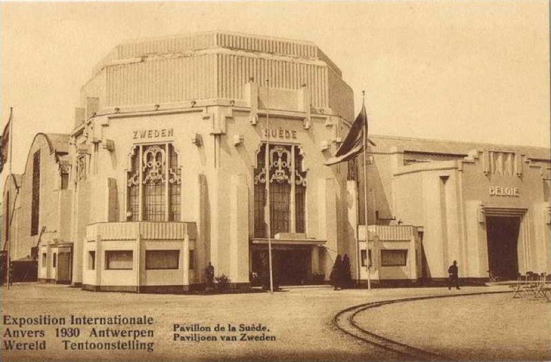 Expo Antwerpen 1930 - Carte postale - Pavillon de la Suède - Zweedsch paviljoen