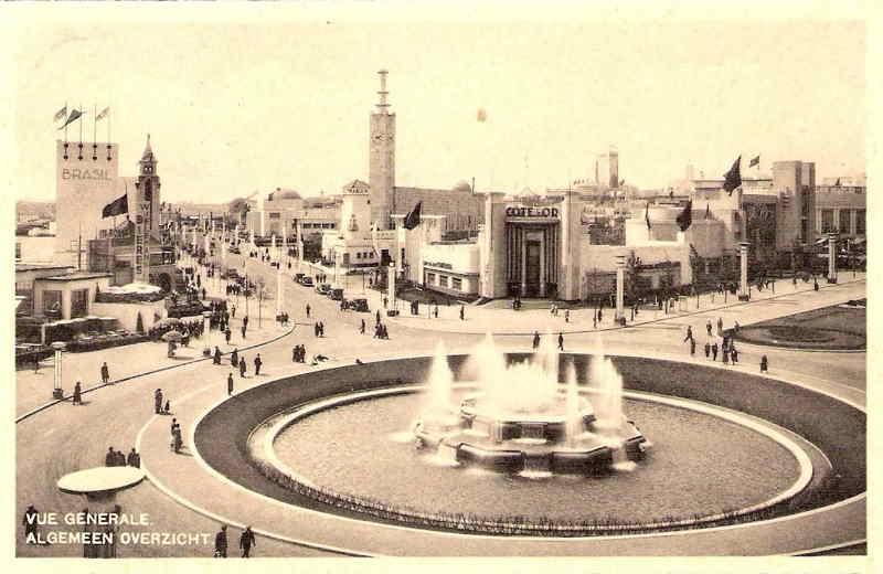Expo Bruxelles 1935 - Carte postale - Allée du Centenaire - Eeuwfeestlaan