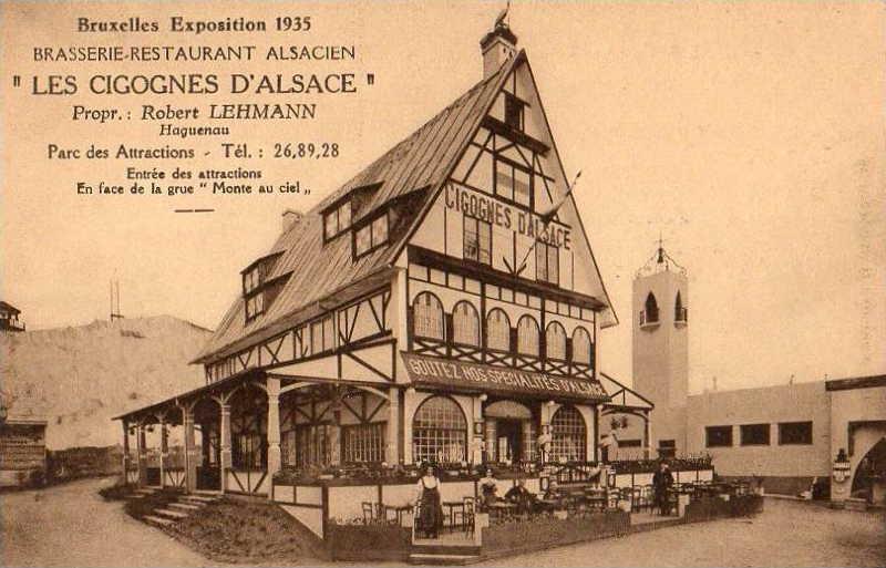 Expo Bruxelles 1935 - Carte postale - Brasserie Restaurant Alsacien -  Les Cigognes d Alsace