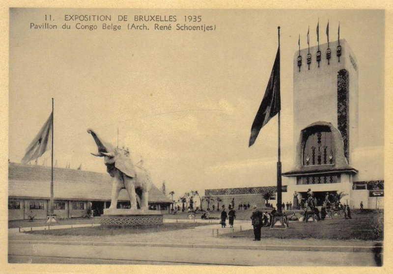 Expo Bruxelles 1935 - Carte postale - Pavillon du Congo - Paviljoen van den Kongo