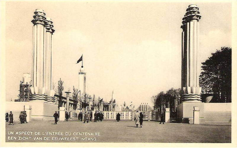 Expo Bruxelles 1935 - Carte postale - Entrée du Centenaire - De ingang van het eeuwfeest