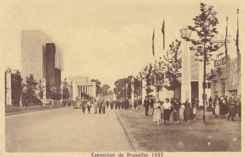 Expo Bruxelles 1935 - Carte postale - Avenue du Gros Tilleul
