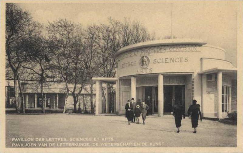 Expo Bruxelles 1935 - Carte postale - Pavillon des Lettres, Sciences et arts