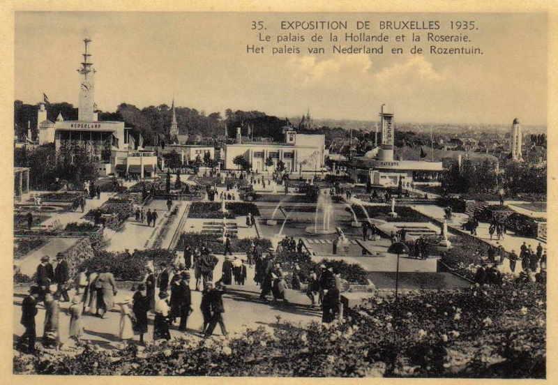 Expo Bruxelles 1935 - Carte postale - Roseraie