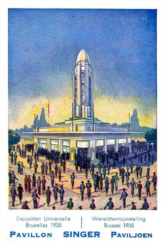 Expo Bruxelles 1935 - Carte postale - Pavillon Singer