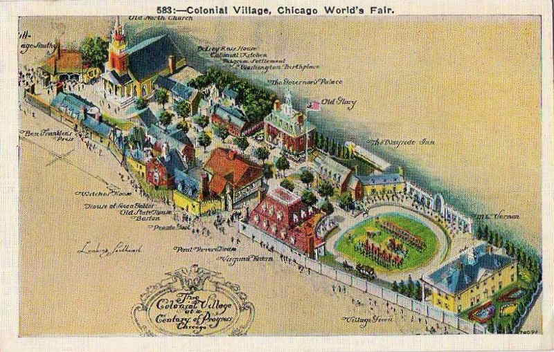 Expo Chicago 1933 - Postcard - Colonial Village