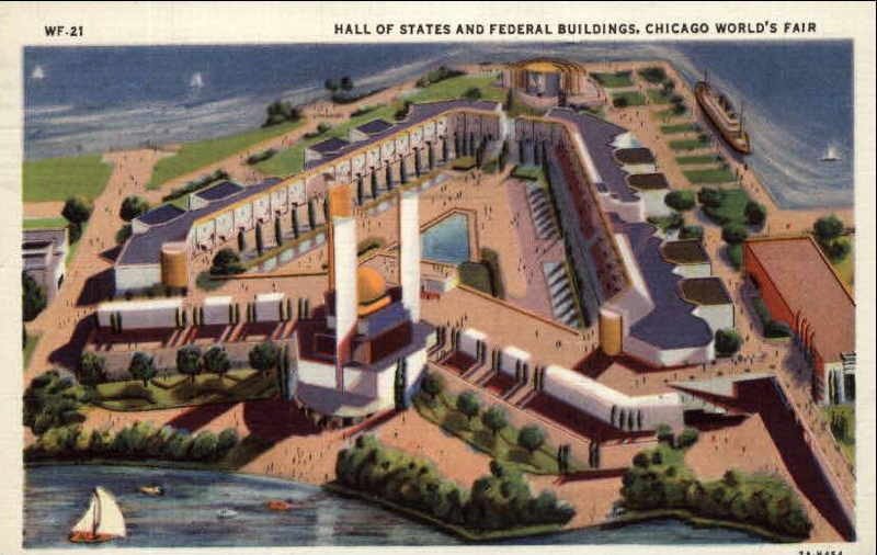 Expo Chicago 1933 - Postcard - Federal Building