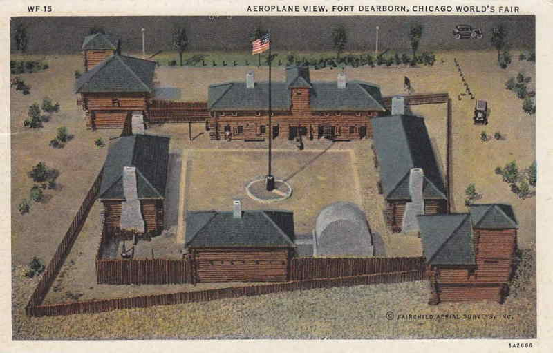 Expo Chicago 1933 - Postcard - Fort Dearborn