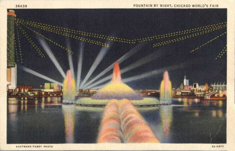Expo Chicago 1933 - Postcard - Fountain
