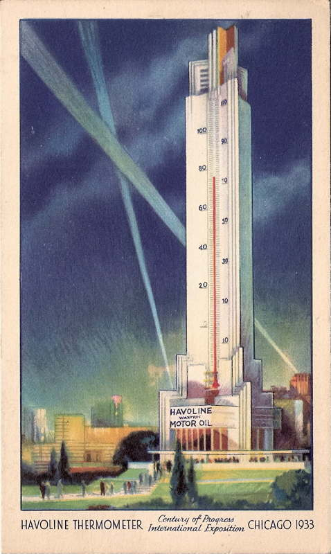 Expo Chicago 1933 - Postcard - Havoline Thermometer