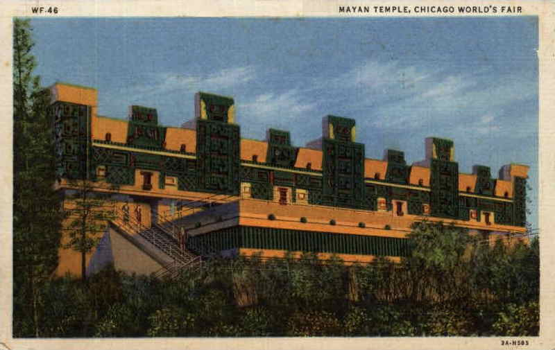 Expo Chicago 1933 - Postcard - Maya Temple
