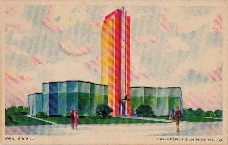Expo Chicago 1933 - Postcard - Owens Illinois Glass Block Building