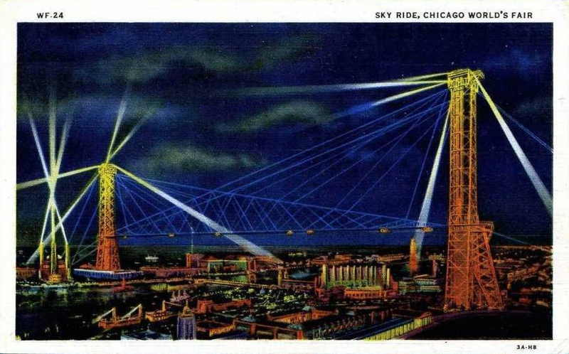 Expo Chicago 1933 - Postcard - Sky Ride