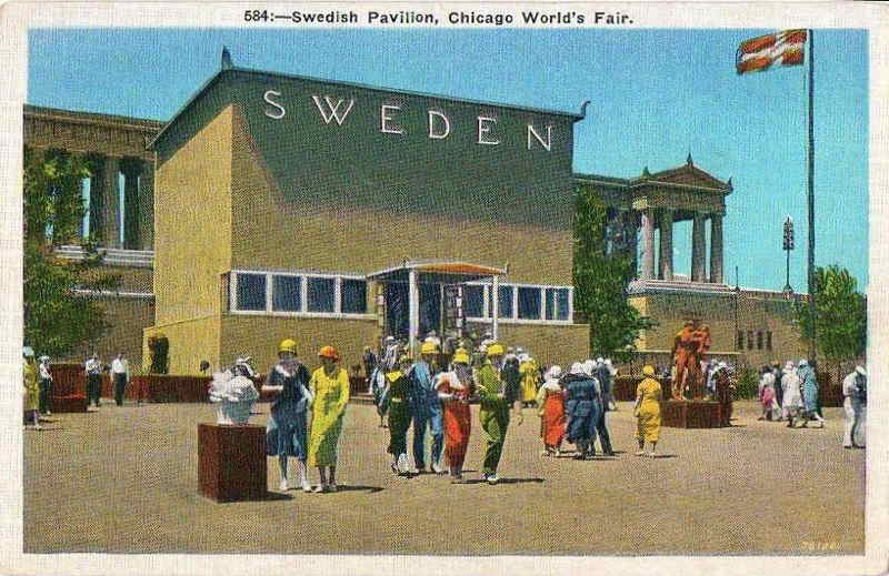 Expo Chicago 1933 - Postcard - Sweden Pavilion