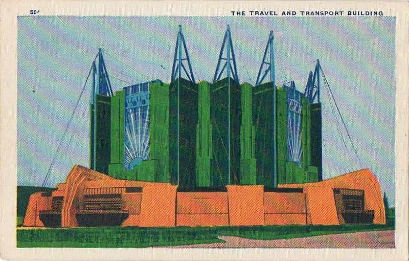 Expo Chicago 1933 - Postcard - Travel and Transport Building