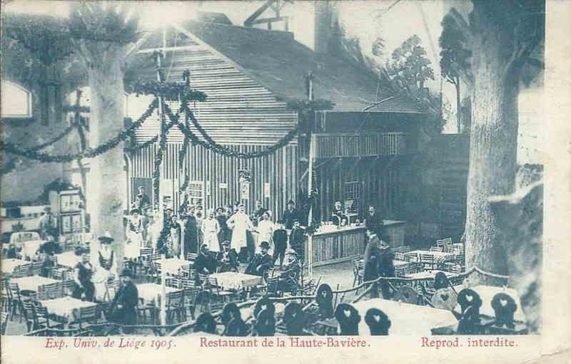 Expo Liège 1905 - Carte postale - Restaurant de la Haute-Bavière Ober-Bayern - Intérieur
