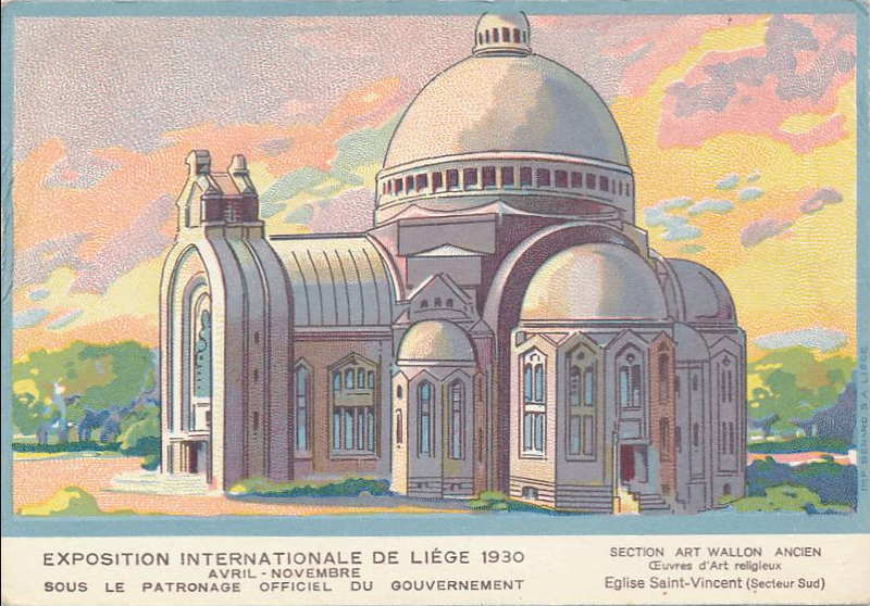 Expo Liège 1930 - Carte postale - Eglise Saint Vincent