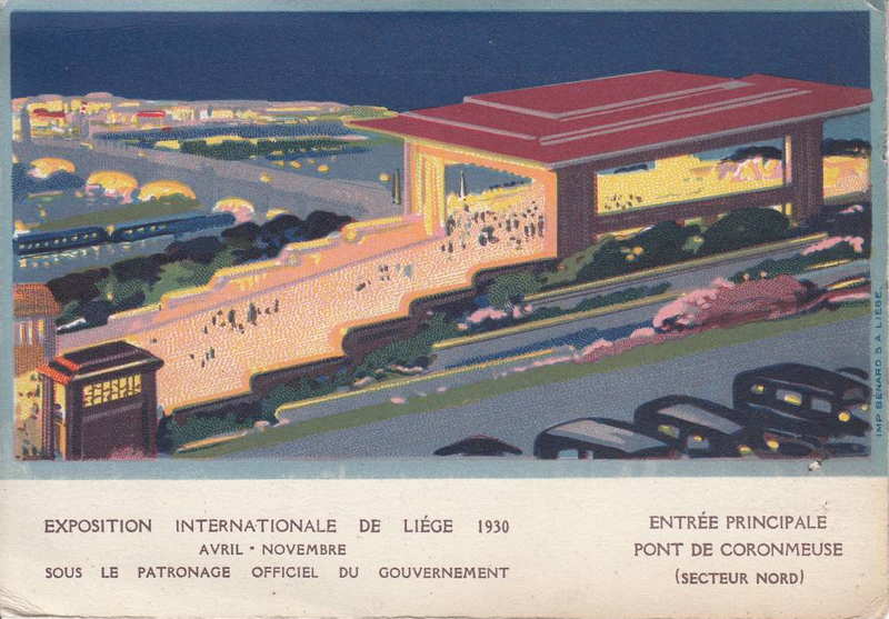 Expo Liège 1930 - Carte postale - Entrée Principale - Pont de Coronmeuse