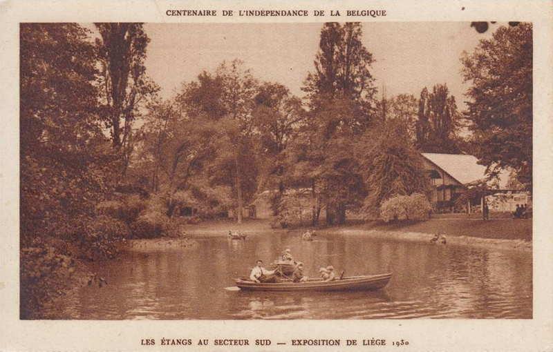 Expo Liège 1930 - Carte postale - Les Etangs au Secteur Sud