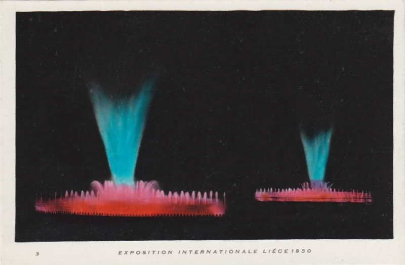 Expo Liège 1930 - Carte postale - Fontaines