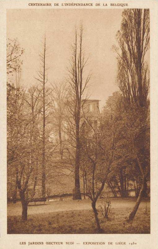 Expo Liège 1930 - Carte postale - Les Jardins Secteur Sud