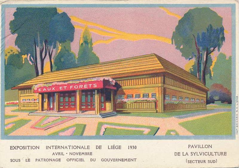 Expo Liège 1930 - Carte postale - Pavillon de la Sylviculture