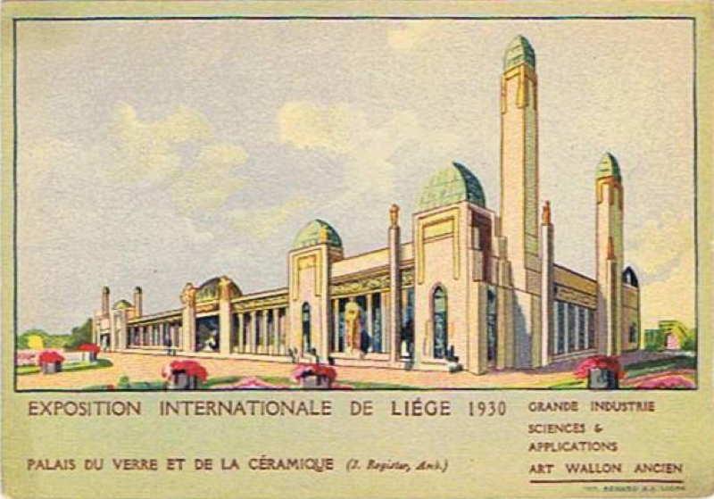Expo Liège 1930 - Carte postale - Palais du Verre et de la Céramique