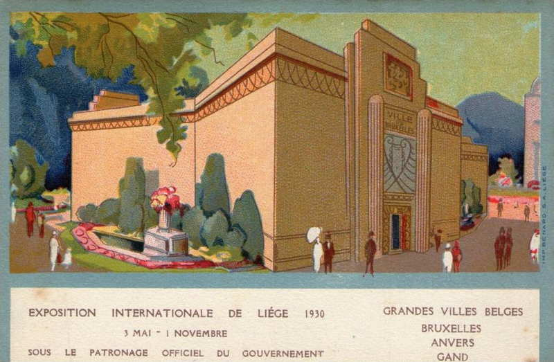 Expo Liège 1930 - Carte postale - Pavillon des Villes Belges