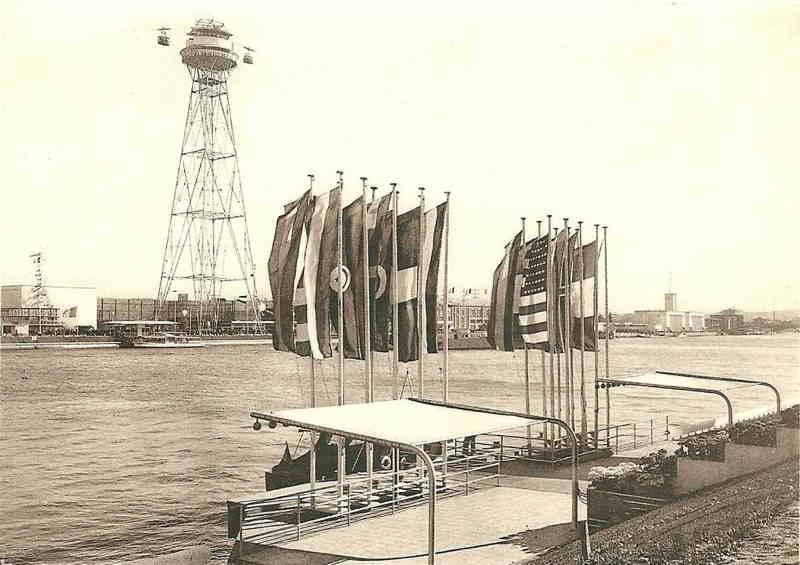 Expo Liège 1939 - Carte postale - Embarcadère de la Meuse