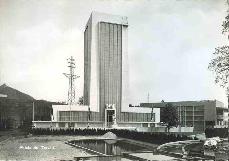 Expo Liège 1939 - Carte postale - Palais du Travail