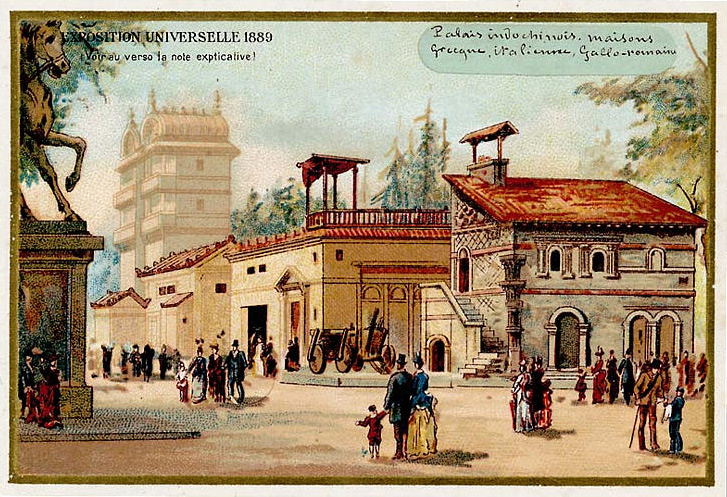 Expo Paris 1889 - Carte Illustration - Histoire de l habitation humaine
