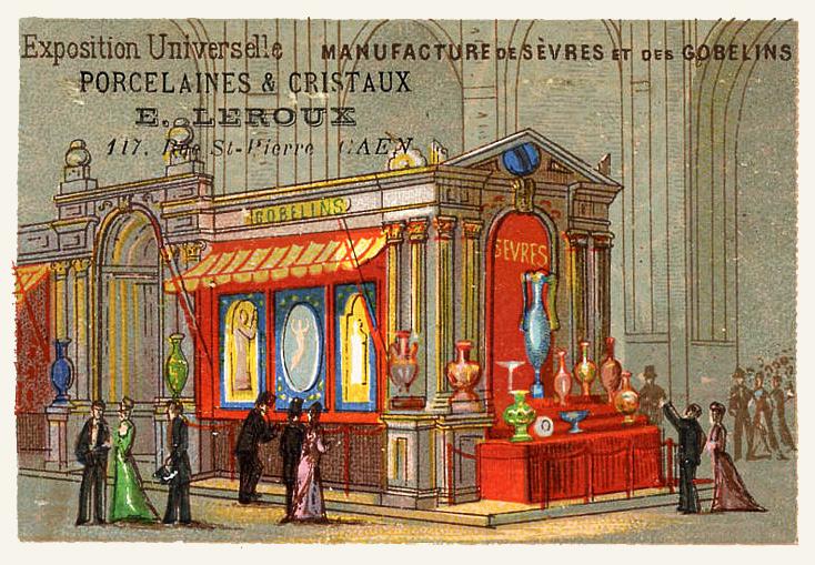 Expo Paris 1889 - Carte Illustration - Manufacture de Sèvres et des Gobelins