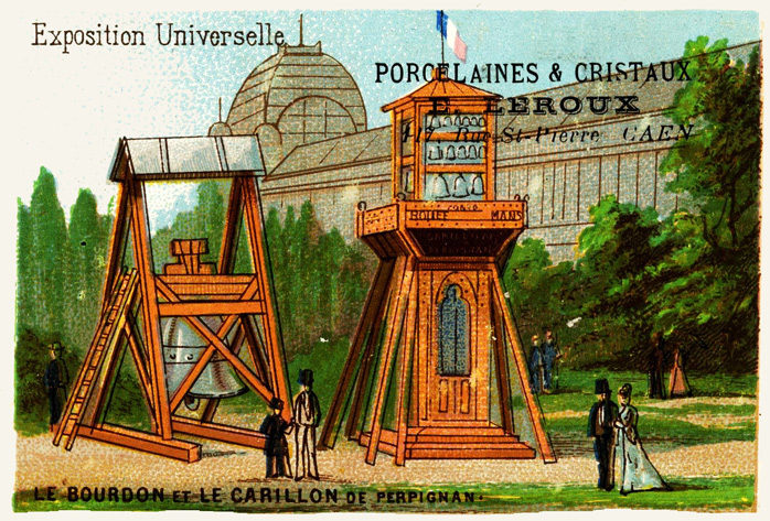 Expo Paris 1889 - Carte Illustration - La bourdon et le Carillon de Perpignan