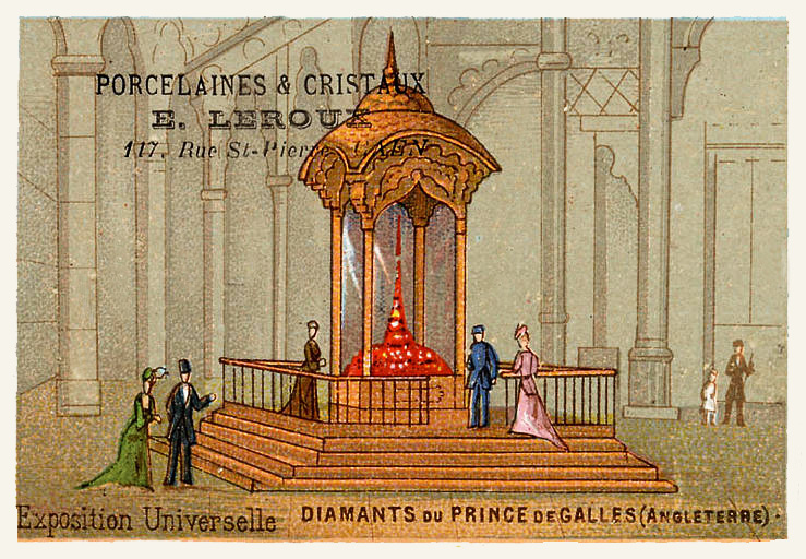 Expo Paris 1889 - Carte Illustration - Diamants du Prince de Galles