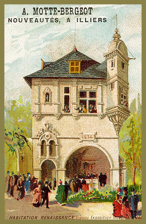 Expo Paris 1889 - Carte Illustration - Habitation Renaissance