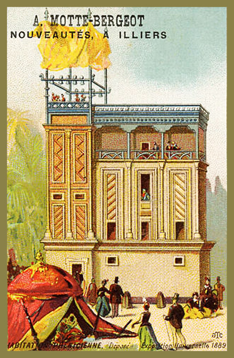 Expo Paris 1889 - Carte Illustration - Habitation Phénicienne