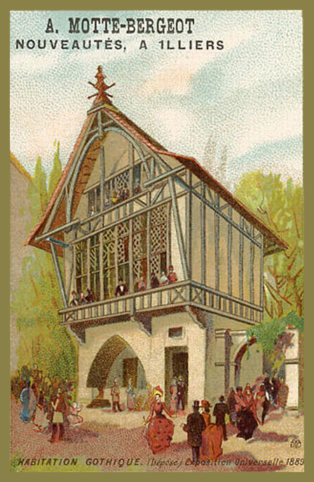 Expo Paris 1889 - Carte Illustration - Habitation Gothique