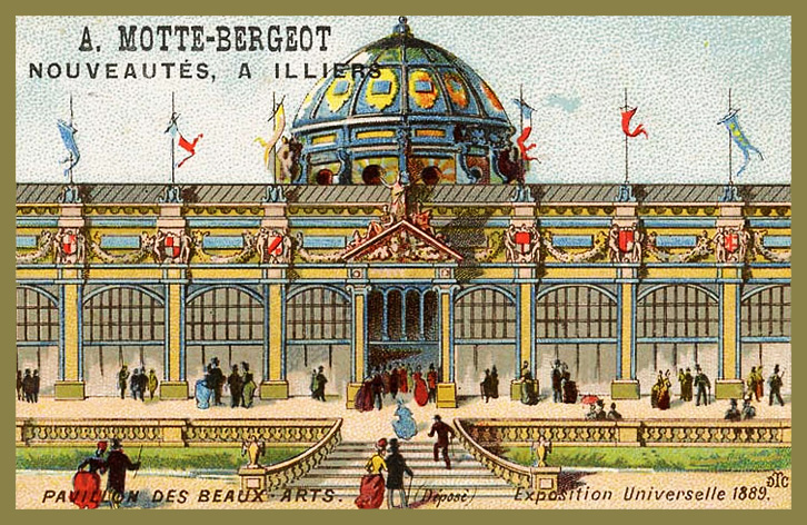 Expo Paris 1889 - Carte Illustration - Pavillon des Beaux-Arts