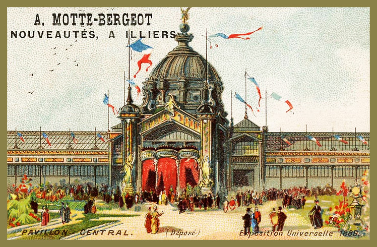 Expo Paris 1889 - Carte Illustration - Pavillon Central