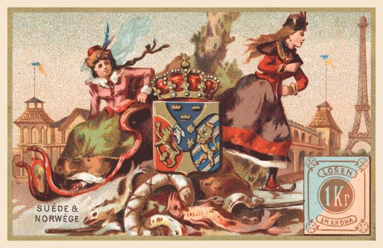 Expo Paris 1889 -  Carte souvenir - Suède et Norwège