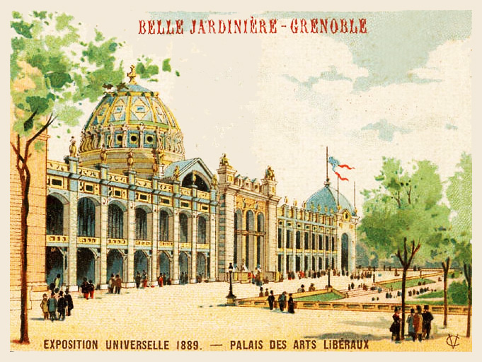 Expo Paris 1889 - Carte Illustration - Palais des Arts Libéraux