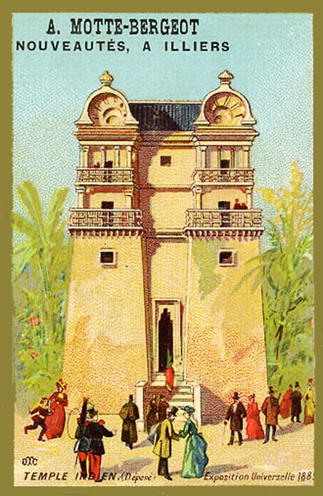 Expo Paris 1889 - Carte Illustration - Temple Indien