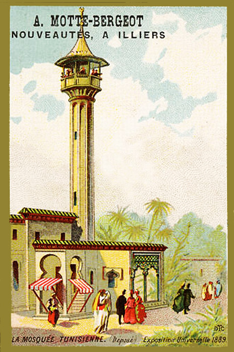Expo Paris 1889 - Carte Illustration - La Mosquée Tunisienne