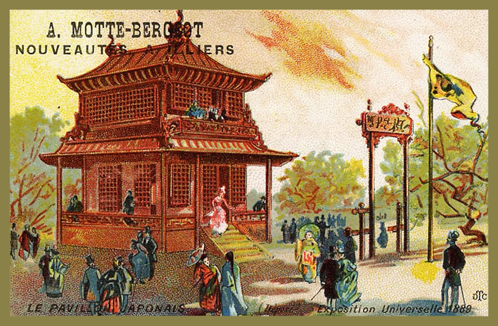 Expo Paris 1889 - Carte Illustration - Le pavillon Japonais