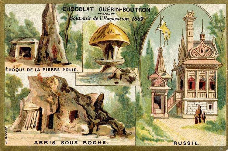 Souvenir Exposition de Paris 1889 - Epoque de la pierre polie, Abri sous roche, russie