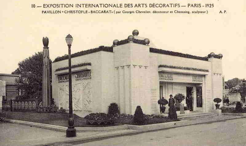 Expo Paris 1925 - Carte postale - Pavillon Christofle - Baccarat