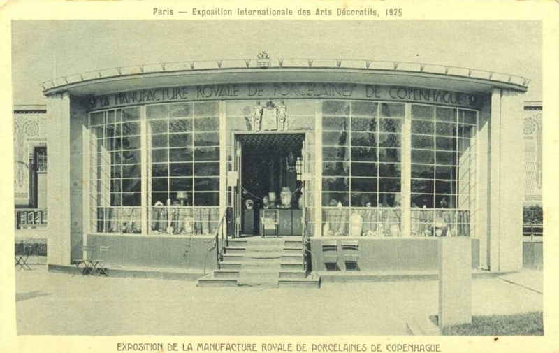 Expo Paris 1925 - Carte postale - Pavillon Manufacture Royale de Porcelaines de Copenhague