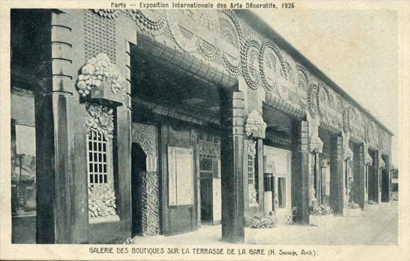 Expo Paris 1925 - Carte postale - Galerie des Boutiques